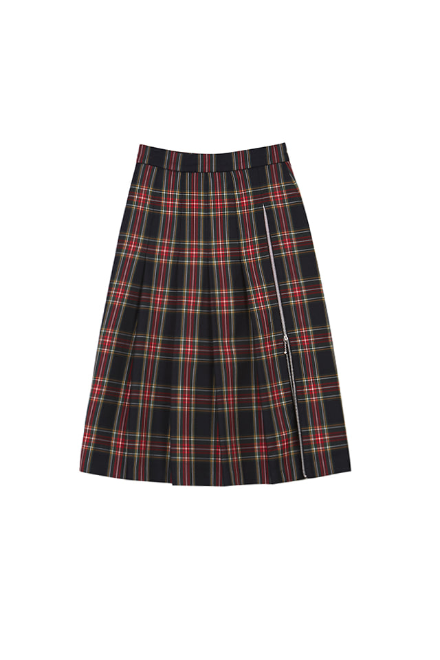 19FW PLEATED PLAID MIDI SKIRT
