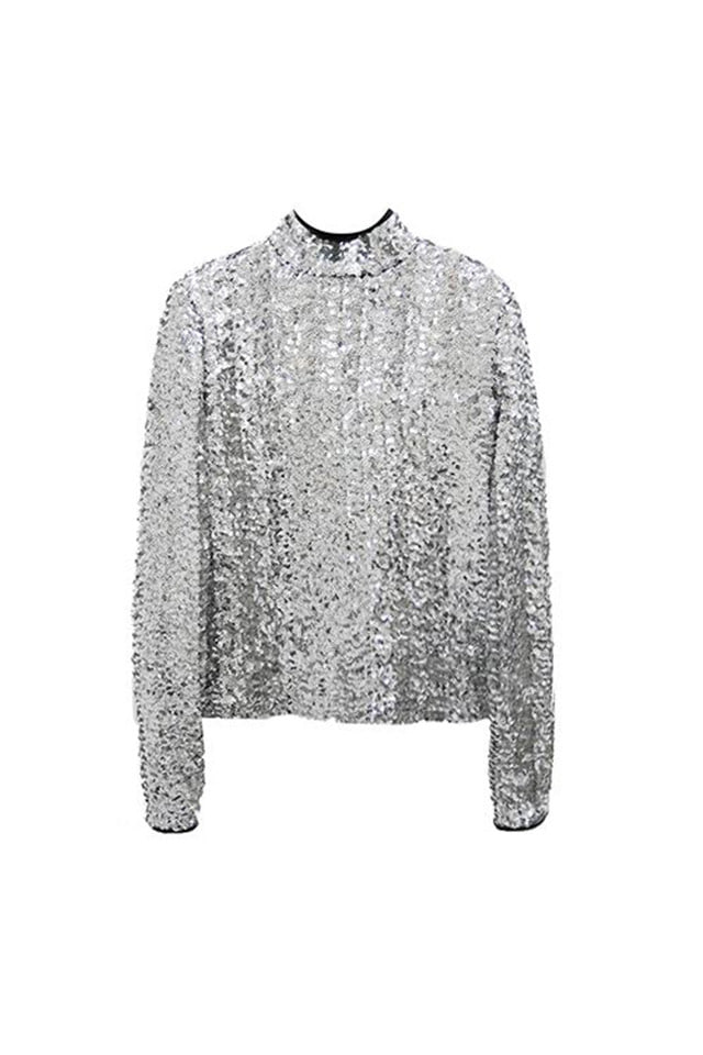 (30%SALE) SPANGLE HIGH NECK TOP