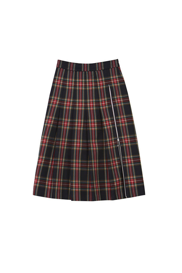 (SALE 60%) PLEATED PLAID MIDI SKIRT