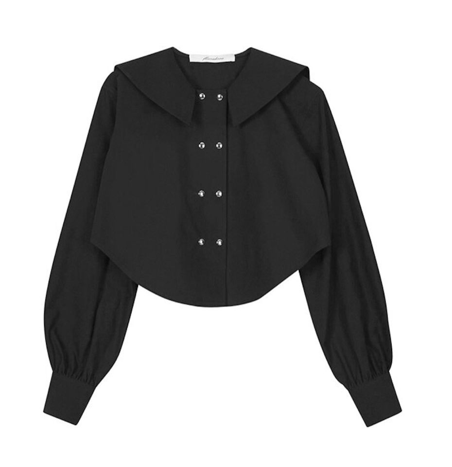(60% SALE) SAILOR COLLAR CROPPED SHIRT