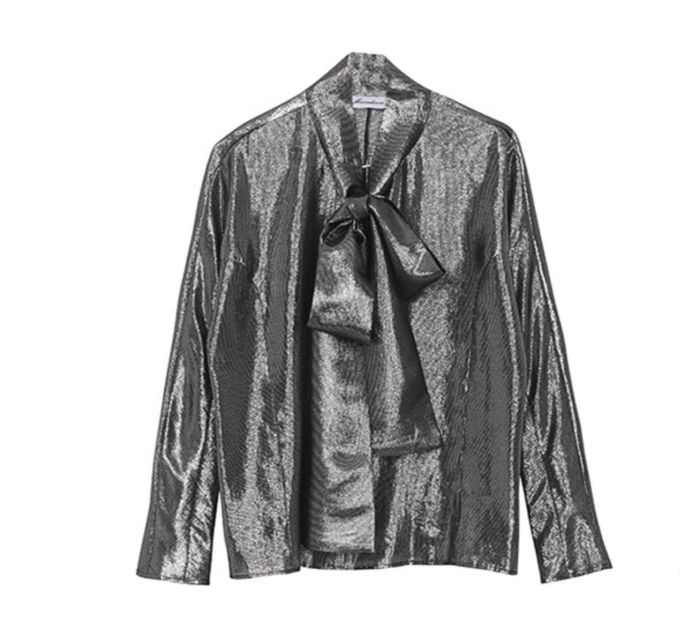 (SALE 70%) METALLIC BOW BLOUSE